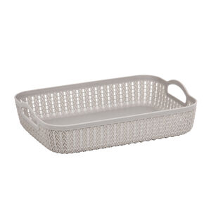 Knit Charcoal Rectangle Storage Tray 35x26cm