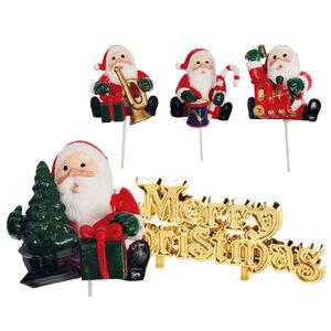 Santa Claus&Merry Christmas Cake Picks
