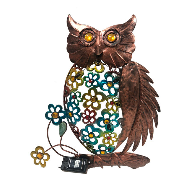Floral Owl Solar Light Wall Art