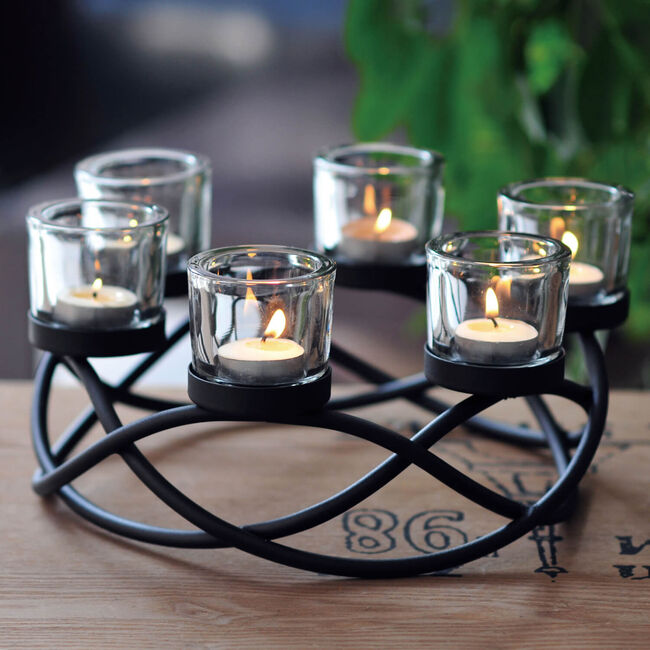 Celtic Crown Black With 6 Votive Holders