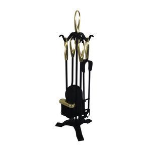 Silverflame Brass & Black Companion Set 5Pc