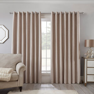 Blackout & Thermal Textured Curtains - Natural
