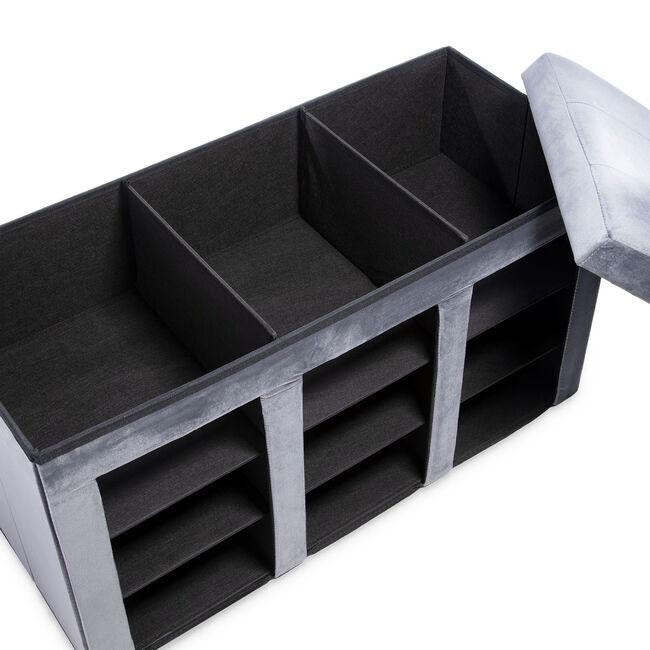 Folding Shoe Storage Ottoman - Grey