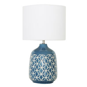 Blue Glazed Geometric Table Lamp
