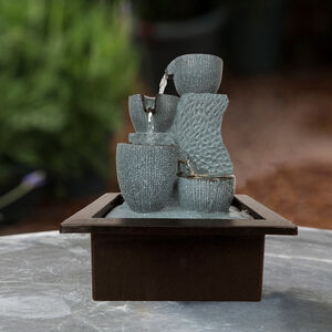 Grey Stone Tabletop Water Fountain with LED light