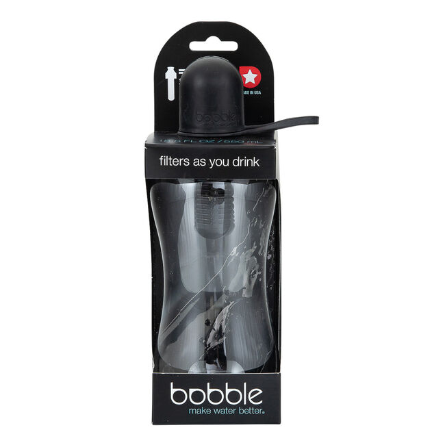 Bobble Water Bottle With Tether Cap 550ml - Black