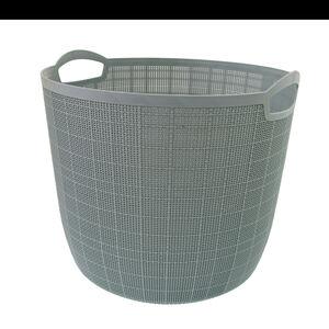 Hessian Blue Round Storage Basket 32L