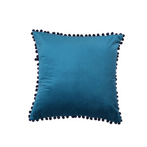 Pom Pom Cushion 45x45cm - Teal