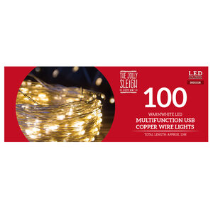 100 Warm White LED USB Copper Wire Lights