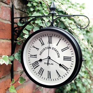 Outdoor Hanging Clock Black