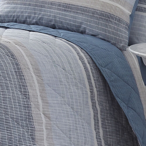 Sam Stripe Bedspread 200x220cm - Blue