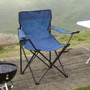 Folding Armchair with Cupholder Blue