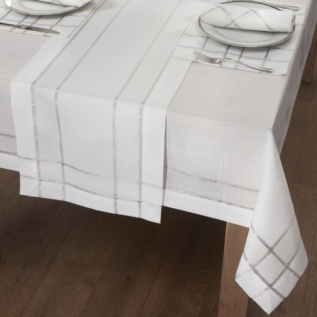 TWINKLE WHITE/SILVER 160x183cm Table Cloth