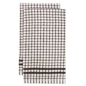 Mono Check Tea Towels 2 Pack - Charcoal