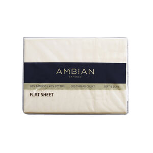 DOUBLE FLAT SHEET 300Tc Bamboo/Ctn Cream