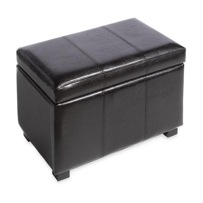 Faux Leather Storage Brown Ottoman Small
