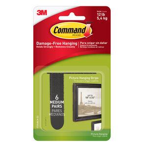 Command 6Pk Medium Picture Hanging Strips Black