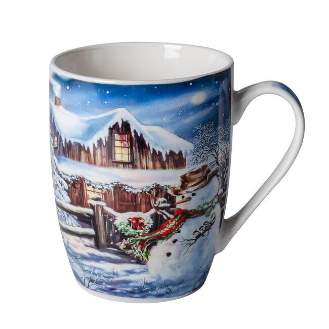 Love Christmas Snowman & Wooden House Mug