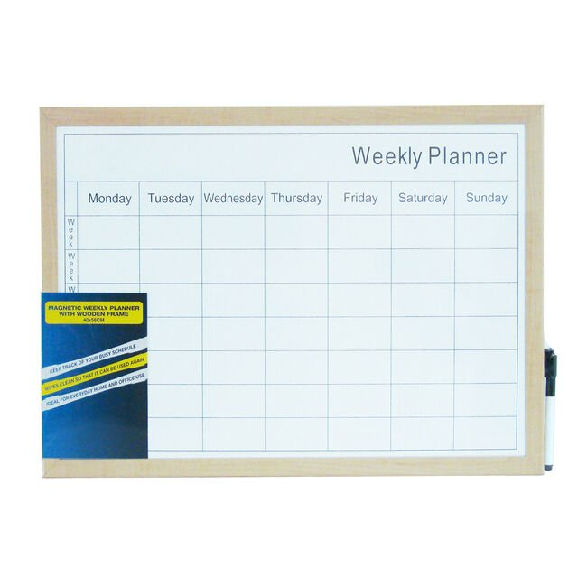 Magnetic Weekly Planner Wooden Frame