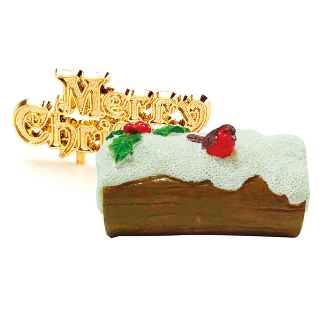 Robin on Snowy Log Cake Toppers