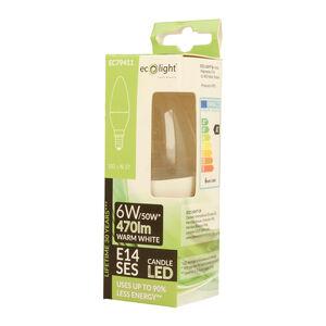 Eco Light 6W Candle Clear Warm White Bulb (E14)