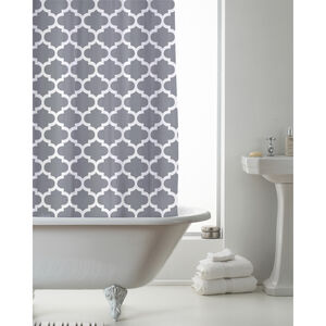 Peva Shower Curtain Grey Moroccan
