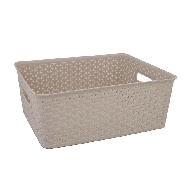 Geometric 14.5L Soft Grey Basket