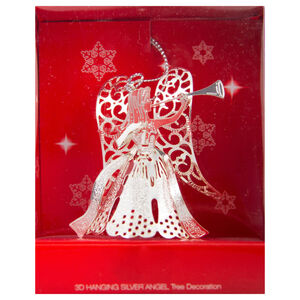3D Hanging Silver Angel Tree Decoration