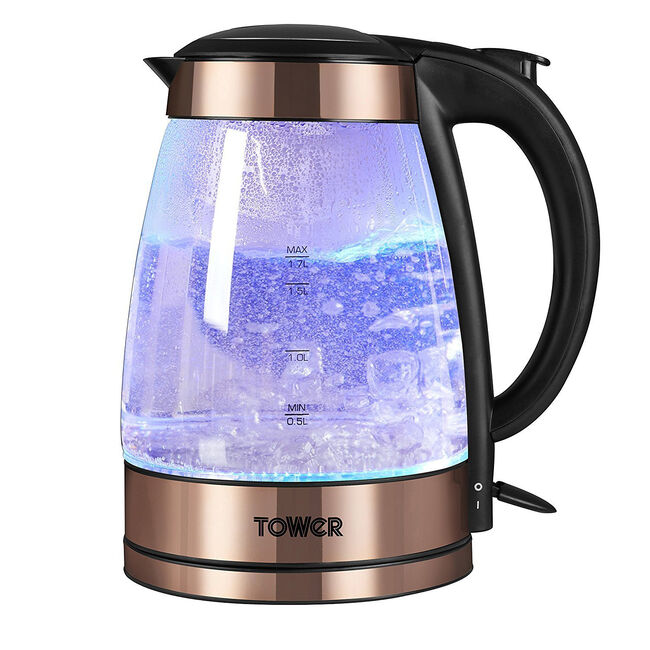 Tower Copper Illuminating Glass Kettle 1.7L