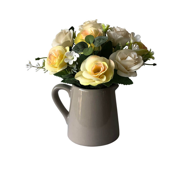 Rose Bouquet in Ceramic Jug - Grey