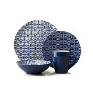 Mosaic Navy 16 Piece Dinner Set