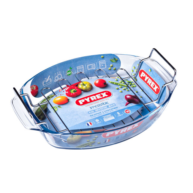 Pyrex Irresistible Oval Roaster with Rack 39x27cm