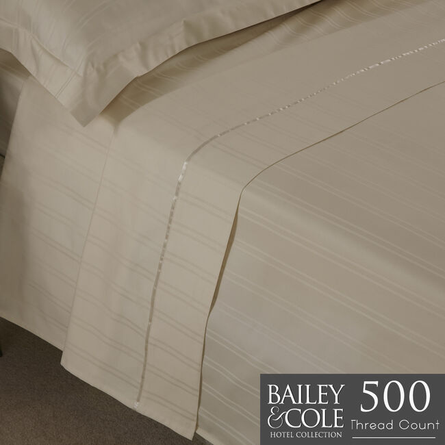 DB FLAT SHEET Lustrous Stripe Ivory 500tc