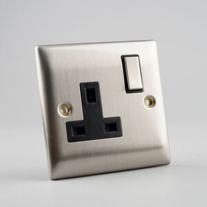 Single Switched Socket Outlet - Stainless Steel