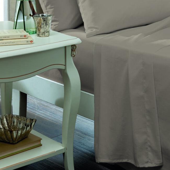 SINGLE FLAT SHEET Luxury Percale Ice Grey