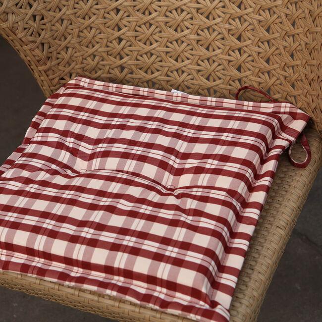 Seat Pad Red Check 40cm x 40cm x 3cm