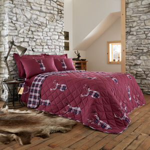 Brushed Cotton Stag Check Bedspread 200 x 220cm