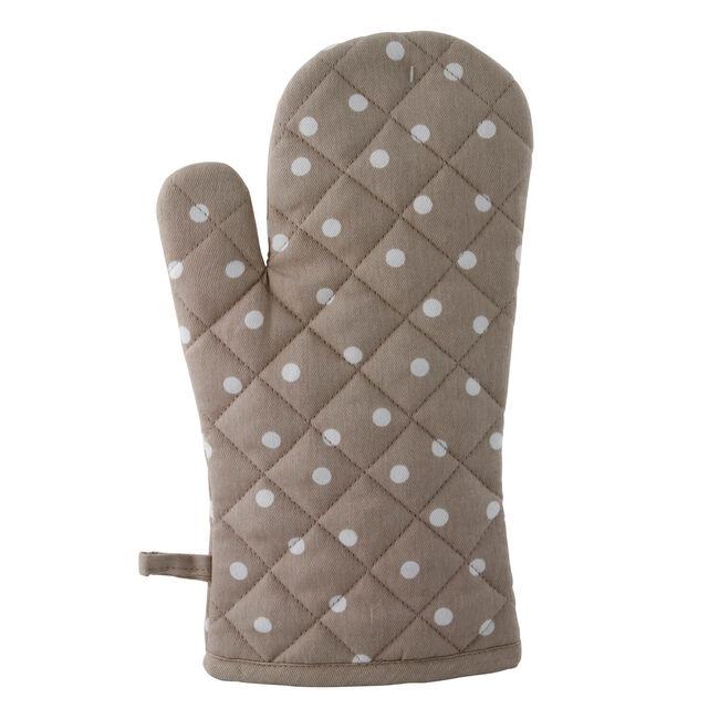 Polka Dot Single Oven Glove - Natural