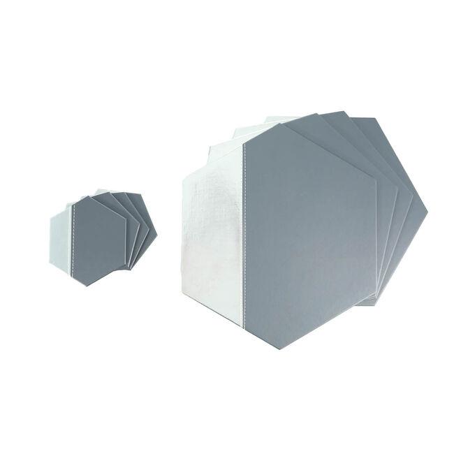 Metallic Hexagon Placemats - Grey & Silver