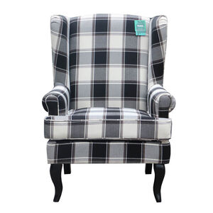 Arlo Wolf Grey Plaid Armchair