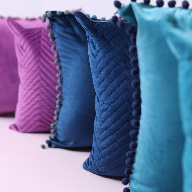 Triangle Stitch Cushion 58x58cm - Navy