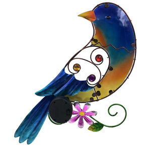Decorative Glass Solar Bird Wall Art