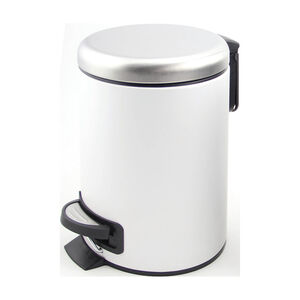 Alesso White and Steel 3L Pedal Bin