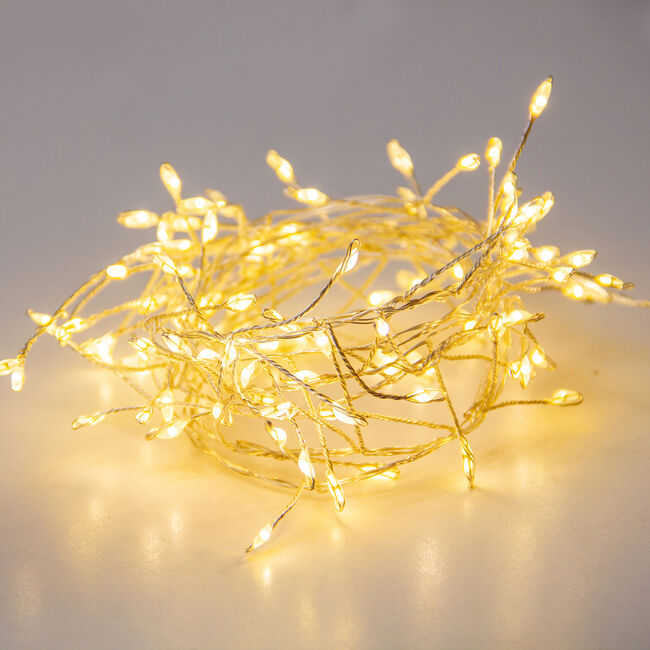 100 Warm White Cluster LED USB Copper Wire Lights