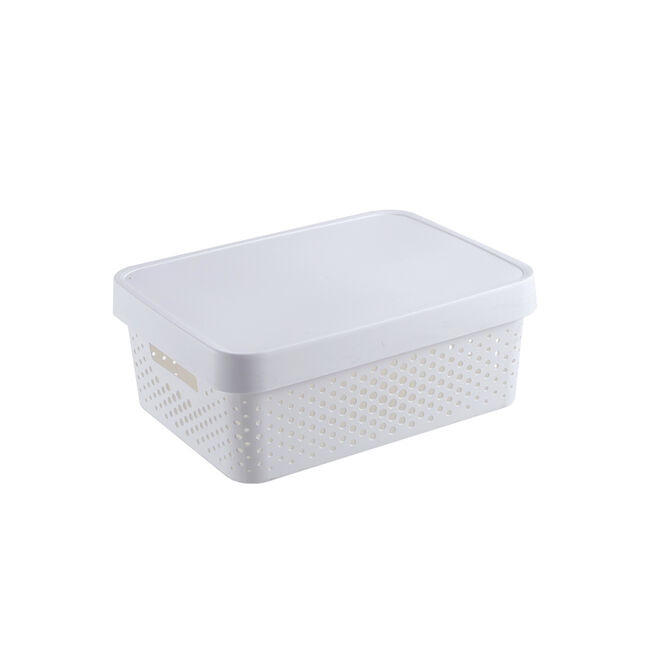 Infinity White Basket With Lid 11L