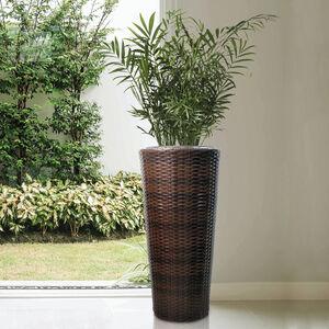 Tall Round Rattan Plant Pot