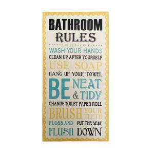 Bathroom Rules Wall Art Cream
