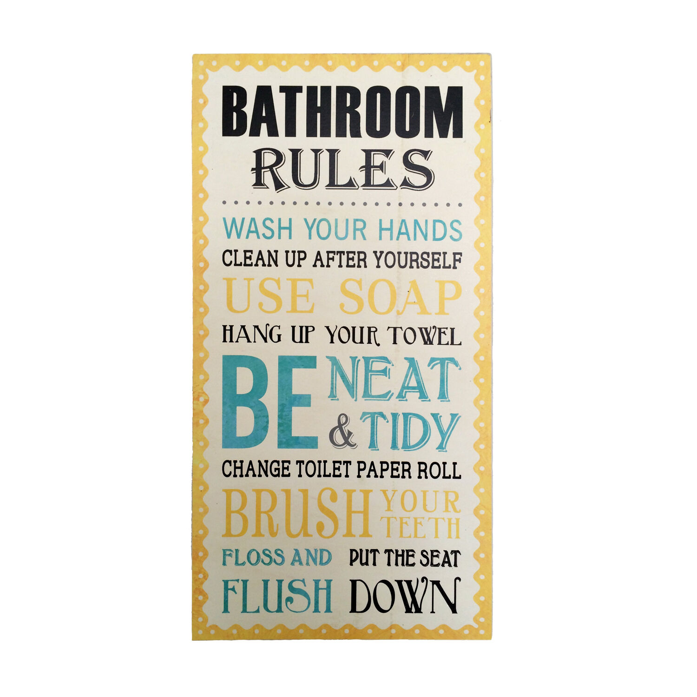Awesome Bathroom Rules Wall Art Cream