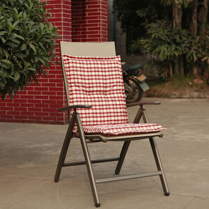 Low Back Chair Cushion Red Check 100x48x4cm