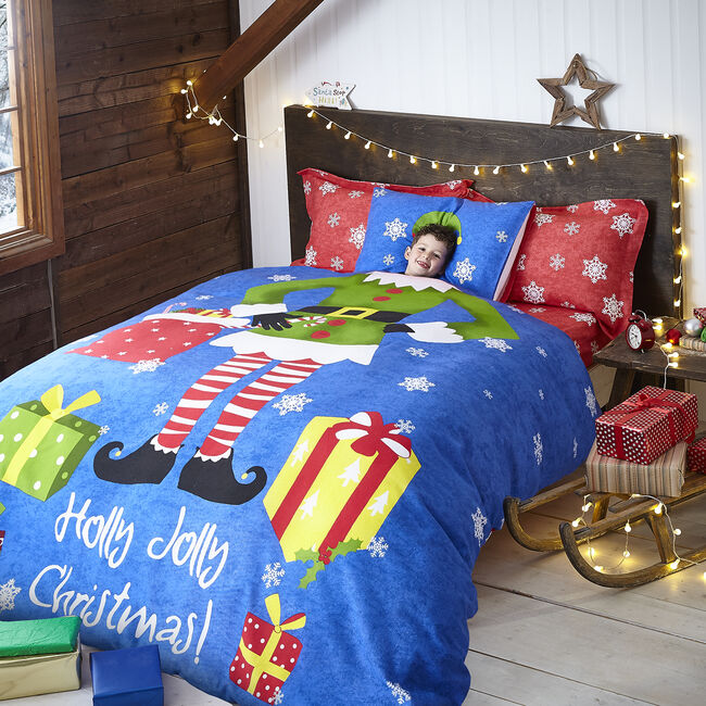 DOUBLE DUVET COVER Brushed Cotton Holly Jolly Elf